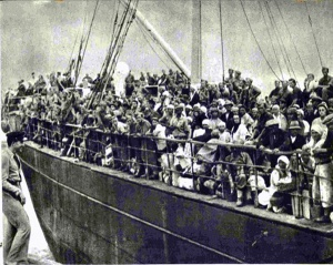 Military and civilians transported across the Caspian Sea from Turkmenistan.